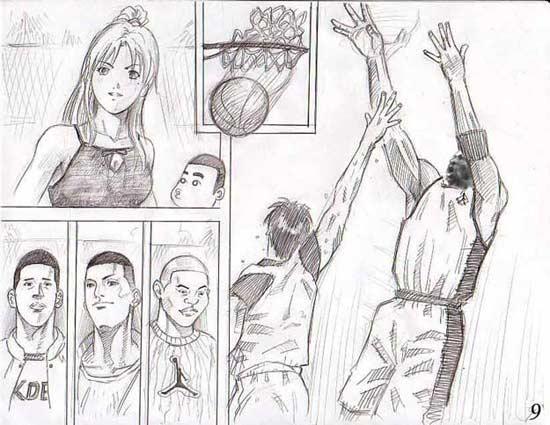 男生打篮球简笔画;