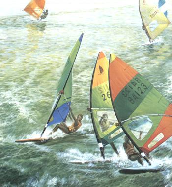 油画:帆板