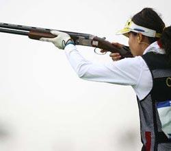 女子双向飞碟团体赛中国夺冠