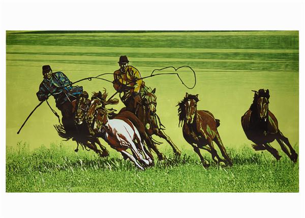 序号13,版画《赛马》