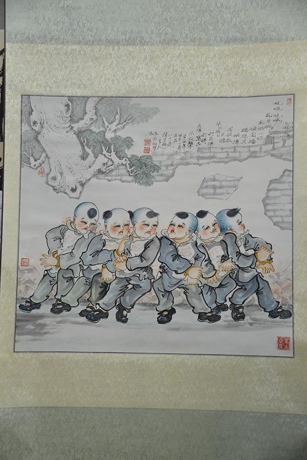 序号30,国画《苏州童谣体育游戏选-轧牛棚》